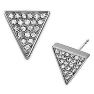 NWT MICHAEL KORS SILVER BRILLIANCE TRIANGLE STUDS